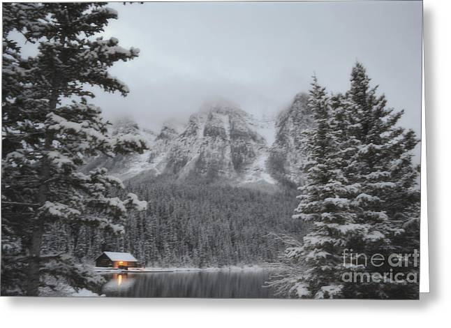 Log Cabins Framed Prints Greeting Cards - Banff Canada Lake Cabin Greeting Card by Andrea Hazel Ihlefeld