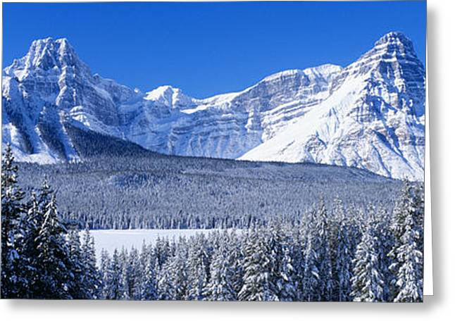 Snow-covered Landscape Photographs Greeting Cards - Banff National Park Alberta Canada Greeting Card by Panoramic Images