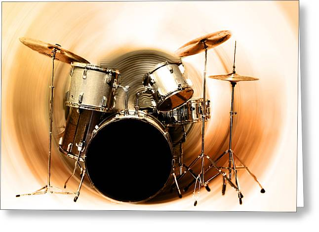 Drum Kit Greeting Cards - Bang on the Drum All Day Greeting Card by Bill Cannon