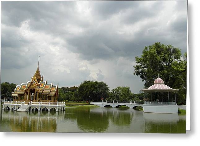 Pond In Park Greeting Cards - Bang Pa In Palace Greeting Card by Ian Scholan