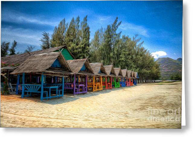 Bangs Greeting Cards - Bang Pu Beach Huts Greeting Card by Adrian Evans