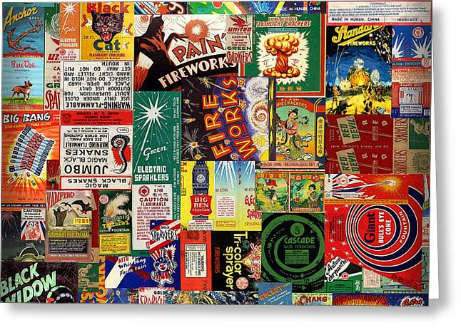 Fireworks Mixed Media Greeting Cards - Bang Greeting Card by Russell Pierce