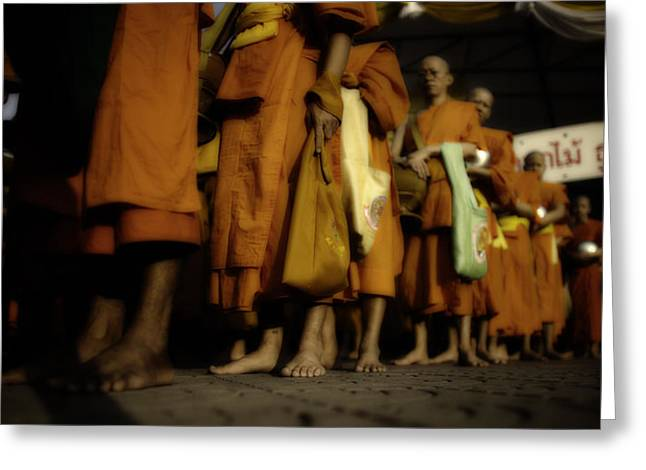 Begging Bowl Greeting Cards - Bangkok Buddhist Monks Greeting Card by David Longstreath