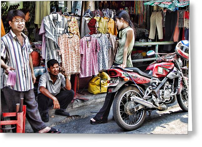 Creative People Greeting Cards - Bangkok Clothing Shop Greeting Card by Linda Phelps