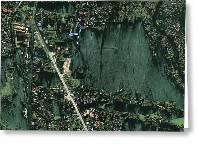 Flooding Greeting Cards - Bangkok flooding 2011, satellite image Greeting Card by Science Photo Library