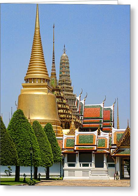 Reds Gold Greens White Blues Greeting Cards - Bangkok Grand Palace Achitecture Greeting Card by Linda Phelps