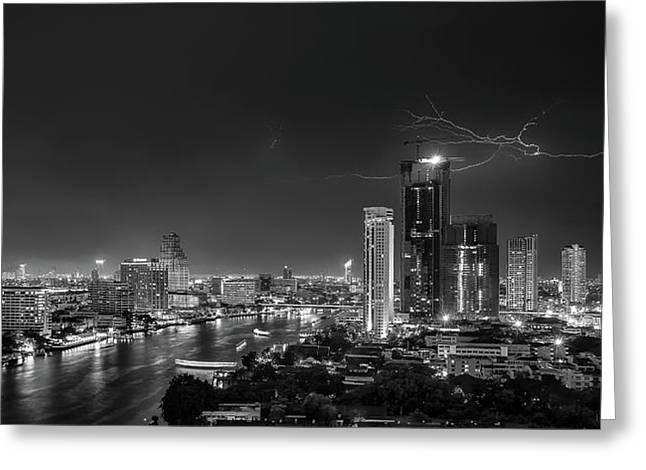 Bangkok Lightning Greeting Card by Stefan Schilbe