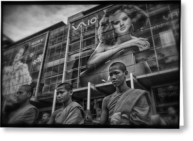Monk-religious Occupation Greeting Cards - Bangkok Mall Monks Greeting Card by David Longstreath