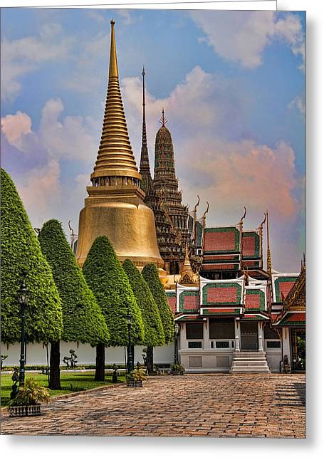 Bangkok Greeting Cards - Bangkok Palace Temple 3 Greeting Card by David Smith