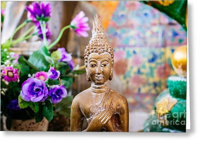 Bangkok Temple Buddha Greeting Card by Dean Harte