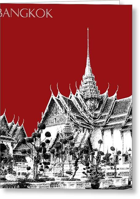 Bangkok Thailand Skyline Grand Palace - Dark Red Greeting Card by DB Artist