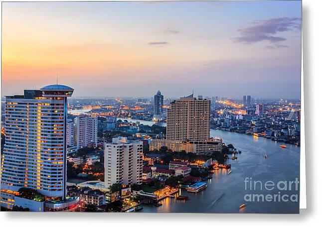 Development Of Life Greeting Cards - Bangkok Twilight City Greeting Card by Niphon Chanthana