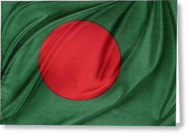 Textile Photographs Photographs Greeting Cards - Bangladesh flag Greeting Card by Les Cunliffe
