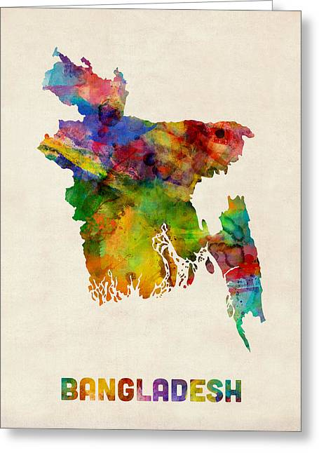 Bangladesh Greeting Cards - Bangladesh Watercolor Map Greeting Card by Michael Tompsett