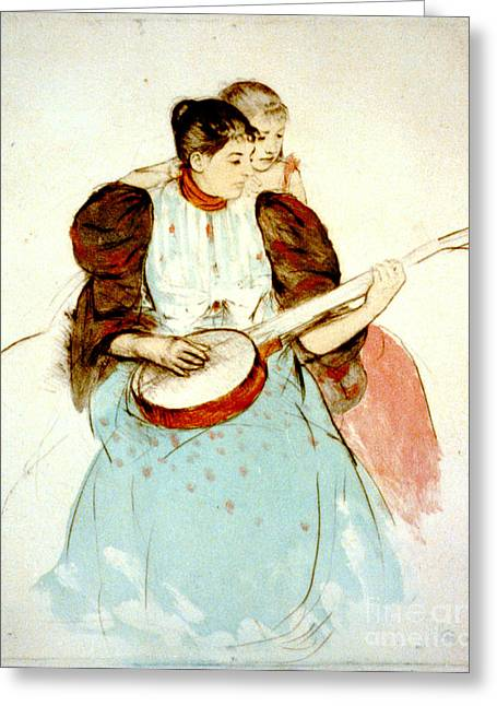 Cassatt Photographs Greeting Cards - Banjo Lesson 1894 Greeting Card by Padre Art