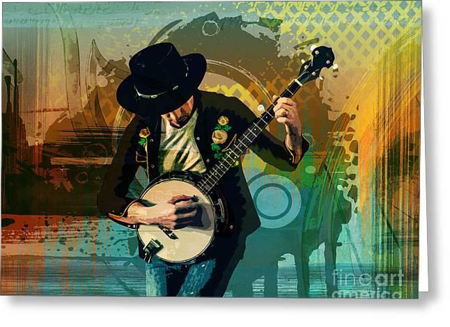 Green Day Greeting Cards - Banjo Man Greeting Card by Bedros Awak