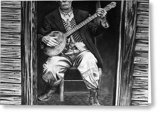 Picking Drawings Greeting Cards - Banjo Man Greeting Card by Matt Pascucci