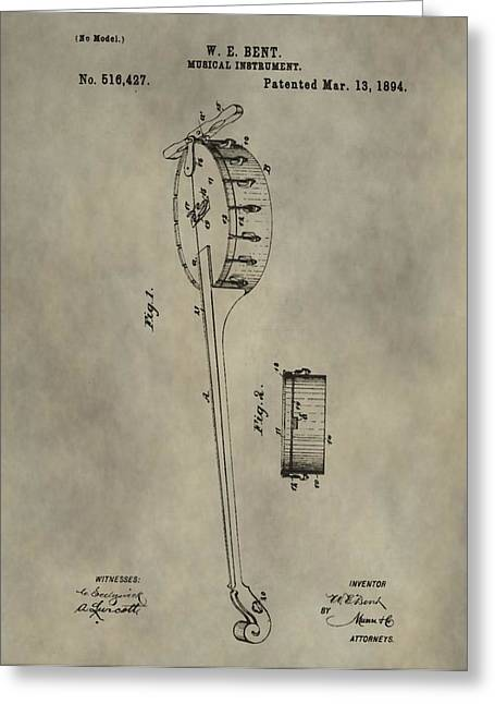 Recording Artists Greeting Cards - Banjo Patent Greeting Card by Dan Sproul