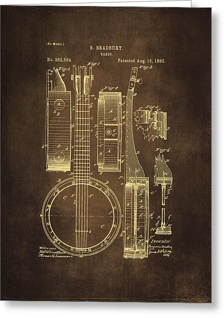 Old Objects Drawings Greeting Cards - Banjo Patent Drawing - Brown Greeting Card by Maria Angelica Maira