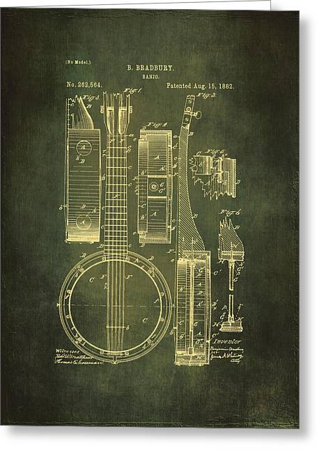 Old Objects Drawings Greeting Cards - Banjo Patent Drawing - Cyan Greeting Card by Maria Angelica Maira