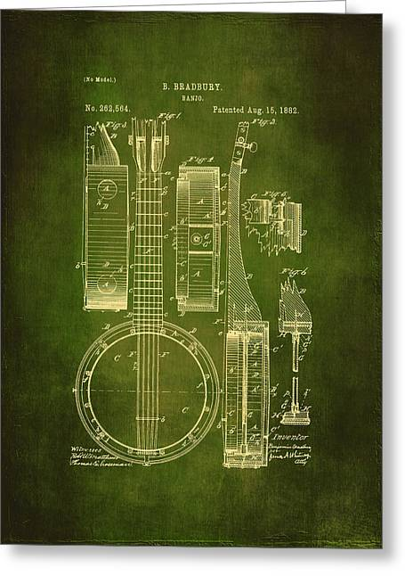 Old Objects Drawings Greeting Cards - Banjo Patent Drawing - Green  Greeting Card by Maria Angelica Maira