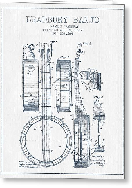 Ink Drawing Greeting Cards - Banjo patent Drawing from 1882 - Blue Ink Greeting Card by Aged Pixel