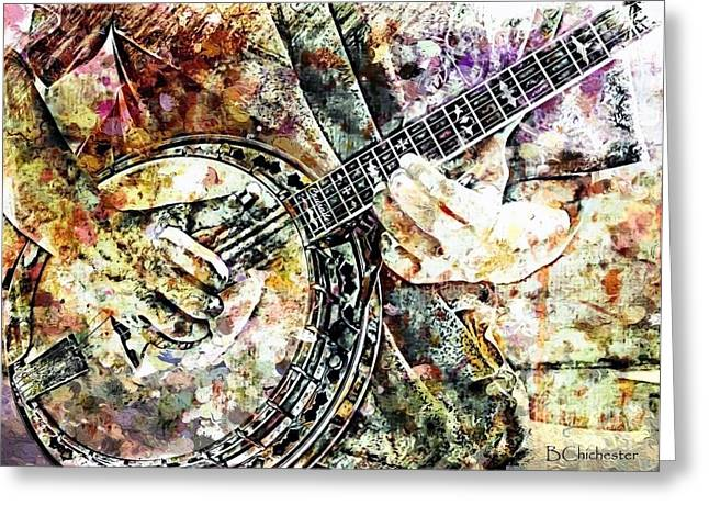 Las Cruces Digital Art Greeting Cards - Banjo Street Music Greeting Card by Barbara Chichester