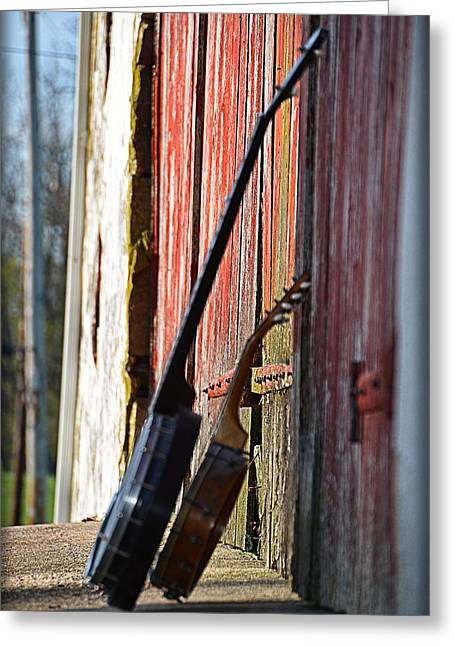 Barn Door Digital Greeting Cards - Banjos Greeting Card by Bill Cannon