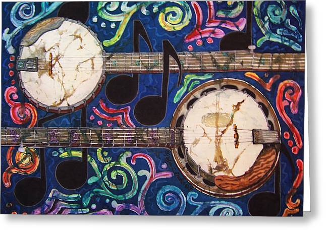 Music Time Tapestries - Textiles Greeting Cards - Banjos Greeting Card by Sue Duda