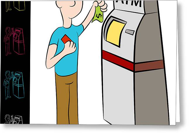 Automated Digital Art Greeting Cards - Bank ATM Money Kiosk Machine Greeting Card by John Takai
