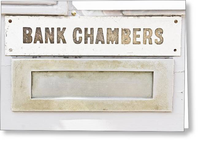 Value Photographs Greeting Cards - Bank chambers Greeting Card by Tom Gowanlock