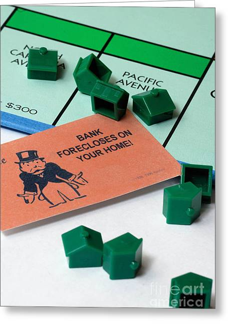 Monopoly Greeting Cards - Bank Forclosure  Greeting Card by Amy Cicconi