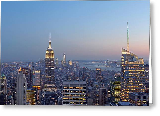 New York Vista Greeting Cards - Bank of America and Empire State Building Greeting Card by Juergen Roth