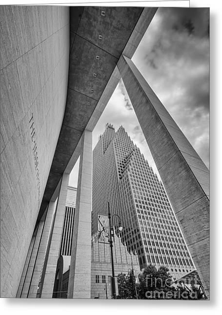 Bank Of America Building Through The Pillars Of The Jesse Jones Hall - Houston Texas Greeting Card by Silvio Ligutti