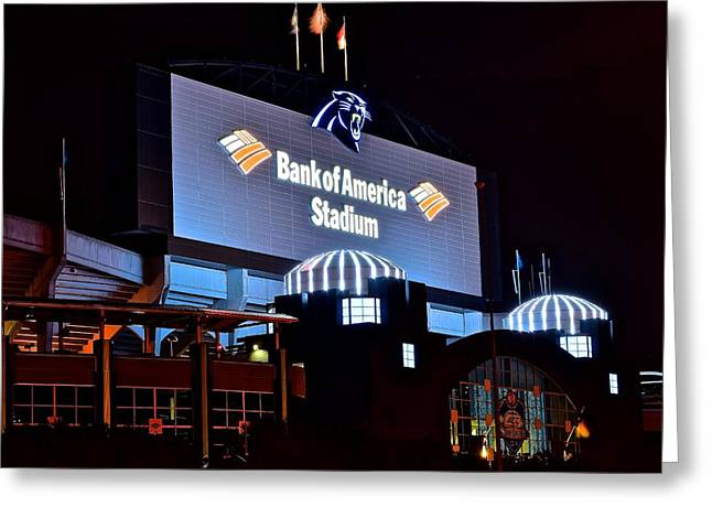 Charlotte Greeting Cards - Bank of America Panthers Stadium Greeting Card by Frozen in Time Fine Art Photography