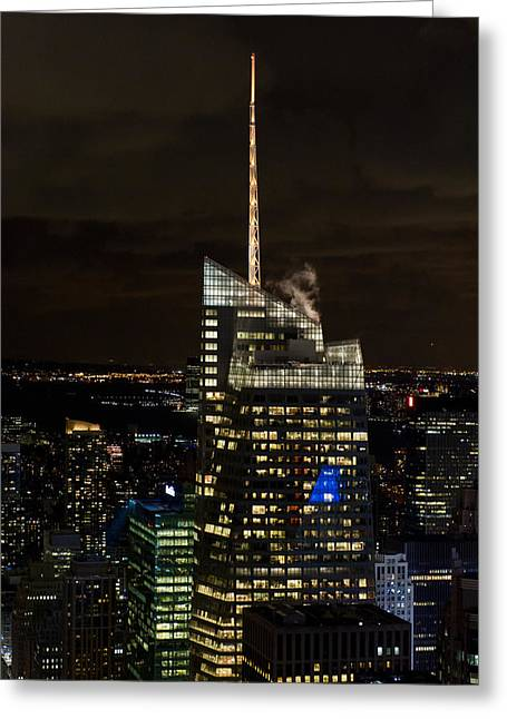 Bank Of America Greeting Cards - Bank of America Tower at night Greeting Card by Gary Eason