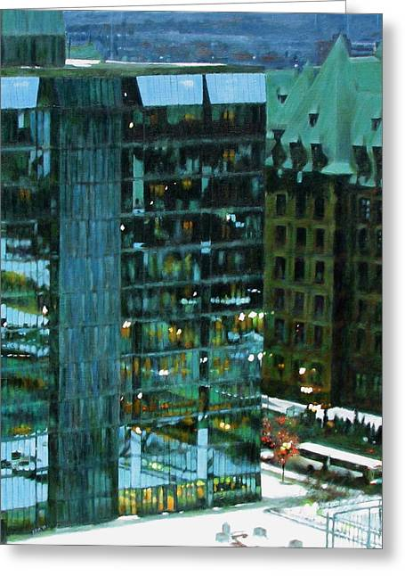 Ottawa Skyline Greeting Cards - Bank of Canada Building East Facade Greeting Card by Anne F Marshall