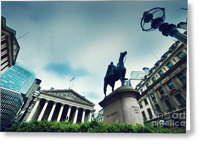 Place Of Business Greeting Cards - Bank of England the Royal Exchange and the Wellington statue LondonUK Greeting Card by Michal Bednarek