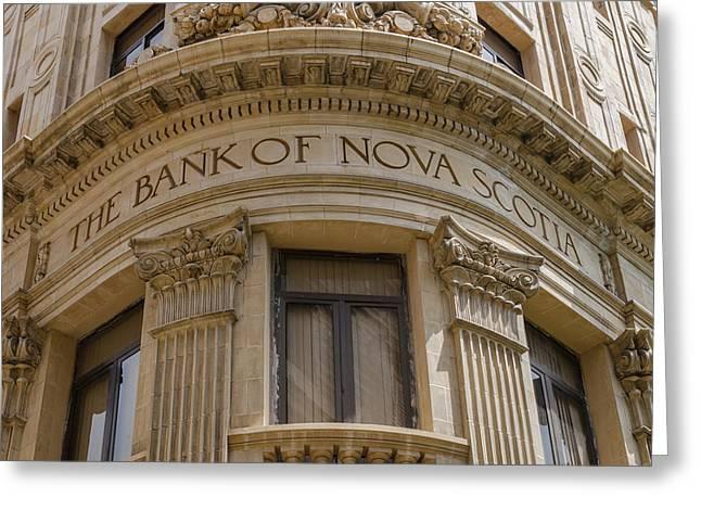 Havana Greeting Cards - Bank of Nova Scotia building in Havana Cuba Greeting Card by Rob Huntley