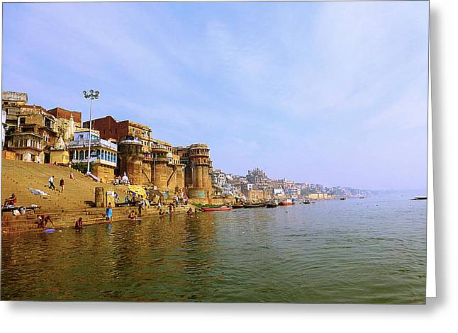 Book Cover Pyrography Greeting Cards - Bank of River Ganga Greeting Card by Girish J