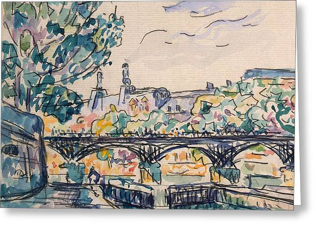 Pen And Ink Drawings For Sale Greeting Cards - Bank of the Seine near the Pont des Arts Greeting Card by Paul Signac