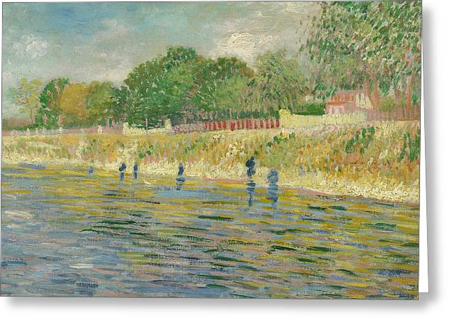 Short Brush Strokes Greeting Cards - Bank of the Seine Greeting Card by Vincent van Gogh