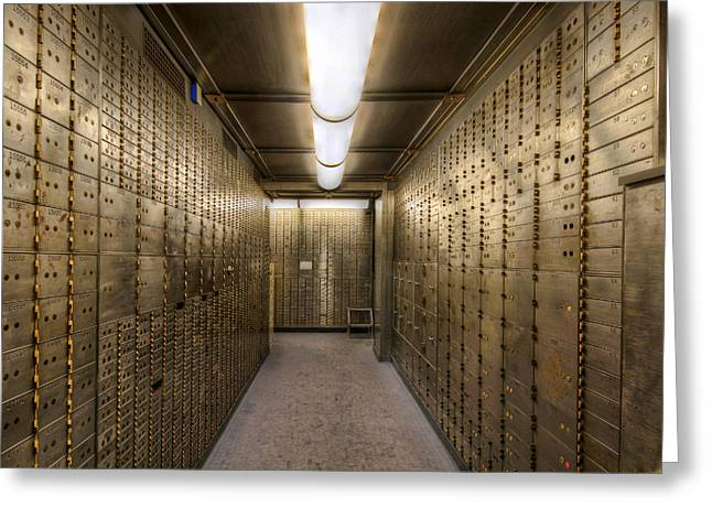 Safekeeping Greeting Cards - Bank Safe Deposit Boxes Greeting Card by David Gn