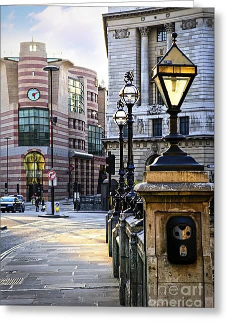 Lampposts Greeting Cards - Bank station in London Greeting Card by Elena Elisseeva