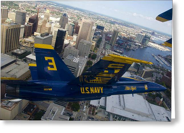 Airpower Greeting Cards - Banking Above Baltimore Greeting Card by Ricky Barnard