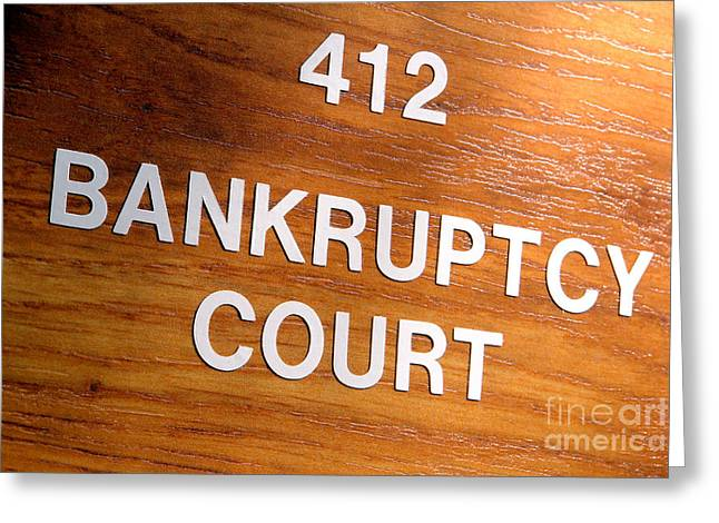 Bankrupt Greeting Cards - Bankruptcy Court Greeting Card by Olivier Le Queinec