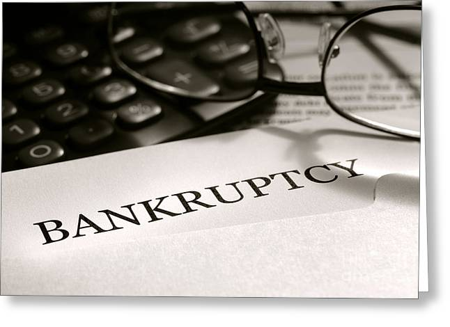 Bankrupt Greeting Cards - Bankruptcy Notice Letter Greeting Card by Olivier Le Queinec