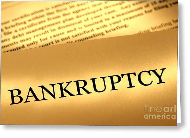 Bankrupt Greeting Cards - Bankruptcy Notice Greeting Card by Olivier Le Queinec