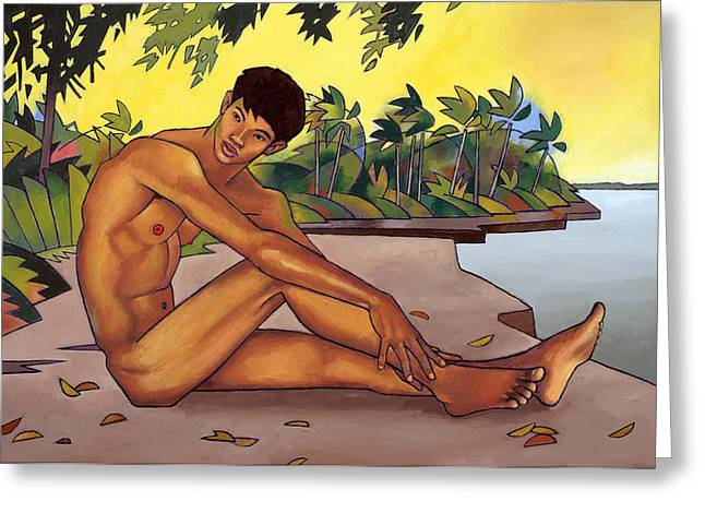 Figures Paintings Greeting Cards - Banks of the Mekong Greeting Card by Douglas Simonson