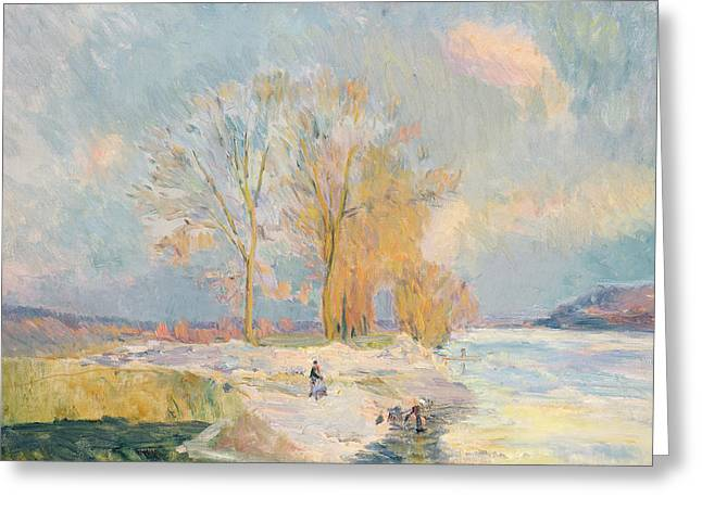 Wintry Greeting Cards - Banks of the Seine and Vernon in Winter Greeting Card by Albert Charles Lebourg